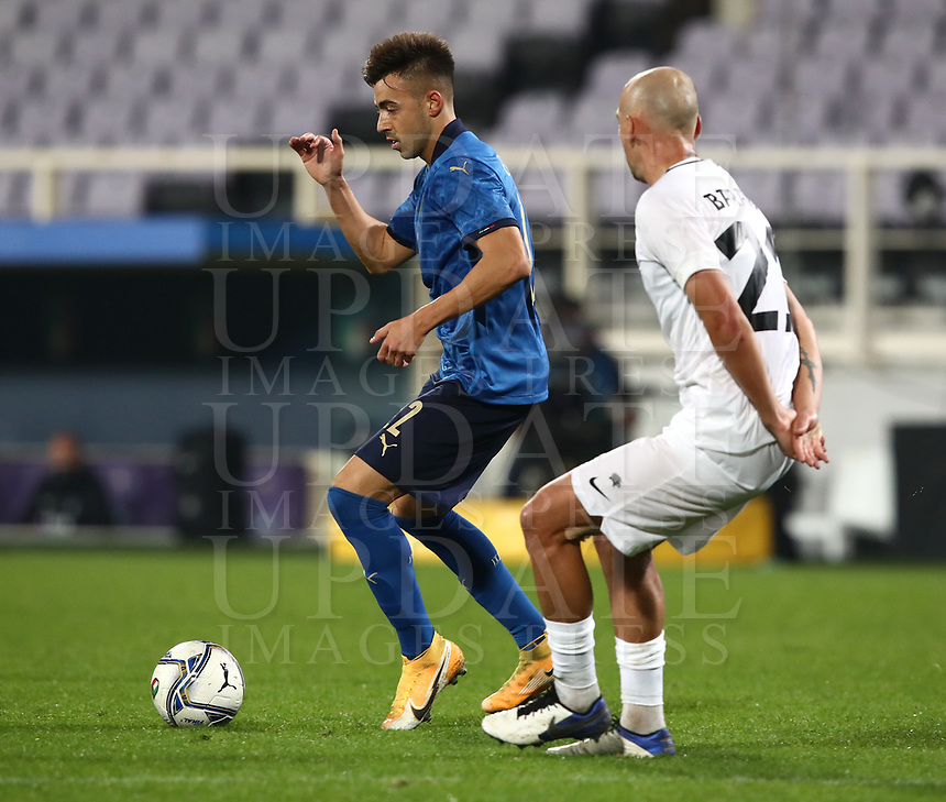 FBL- Friendly  football match Italy vs Estonia at the Artemio Franchi stadium in Florence on November 11, 2020.<br /> Italy's Stephan El Shaaeawy (l) in action with Estonia's Nikita Baranov (r) during the friendly football match between Italy snd Estonia at the Artemio Franchi stadium in Florence on November 11, 2020. <br /> UPDATE IMAGES PRESS/Isabella Bonotto
