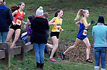 WATERTOWN CT. - 16 November 2020-111620SV08-From left, Kaitlin DeForest of Terryville, 3rd place, Maegan Desmarais of Thomaston, 1st Place,  and Charlotte Clulow of Housatonic, 2nd place, race during the Berkshire League cross country championships in Watertown Monday.<br /> Steven Valenti Republican-American