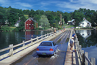 floating bridge, Vermont, VT, Car crosses over the floating bridge on Sunset Lake in Brookfield. People swimming and fishing off the bridge.