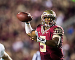 Florida State quarterback Jameis Winston rolls out to pass late in the second half of an NCAA college football game against Notre Dame in Tallahassee, Fla., Saturday, Oct. 18, 2014.  Florida State defeated Notre Dame 31-27.  AP Photo/Mark Wallheiser)