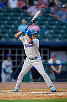 Midland RockHounds designated hitter Yairo Munoz (10) at bat during a game against the Northwest Arkansas Naturals on May 27, 2017 at Arvest Ballpark in Springdale, Arkansas.  NW Arkansas defeated Midland 3-2.  (Mike Janes/Four Seam Images)