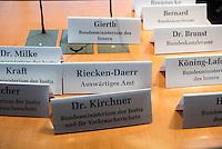 51. Sitzungstag des NSA-Untersuchungsausschuss am Donnerstag den 11. Juni 2015.<br /> Im Bild: Platzschilder moeglicher Teilnehmer der Ausschusssitzung.<br /> 11.6.2015, Berlin<br /> Copyright: Christian-Ditsch.de<br /> [Inhaltsveraendernde Manipulation des Fotos nur nach ausdruecklicher Genehmigung des Fotografen. Vereinbarungen ueber Abtretung von Persoenlichkeitsrechten/Model Release der abgebildeten Person/Personen liegen nicht vor. NO MODEL RELEASE! Nur fuer Redaktionelle Zwecke. Don't publish without copyright Christian-Ditsch.de, Veroeffentlichung nur mit Fotografennennung, sowie gegen Honorar, MwSt. und Beleg. Konto: I N G - D i B a, IBAN DE58500105175400192269, BIC INGDDEFFXXX, Kontakt: post@christian-ditsch.de<br /> Bei der Bearbeitung der Dateiinformationen darf die Urheberkennzeichnung in den EXIF- und  IPTC-Daten nicht entfernt werden, diese sind in digitalen Medien nach §95c UrhG rechtlich geschuetzt. Der Urhebervermerk wird gemaess §13 UrhG verlangt.]