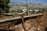 Pictured: A landslide caused by heavy rain next to main road in the area of Kinetta, near Athens, Greece. Monday 25 November<br /> Re: Heavy overnight rainfall has caused flooding and landslides in parts of Greece.