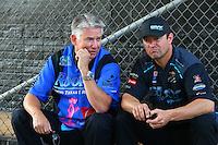 May 17, 2015; Commerce, GA, USA; NHRA pro stock drivers Rodger Brogdon (left) with Shane Gray during the Southern Nationals at Atlanta Dragway. Mandatory Credit: Mark J. Rebilas-USA TODAY Sports