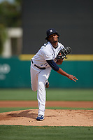 Detroit Tigers pitcher Elvin Rodriguez (57) during a Florida Instructional League game against the Pittsburgh Pirates on October 16, 2020 at Joker Marchant Stadium in Lakeland, Florida.  (Mike Janes/Four Seam Images)