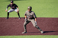 Vanderbilt Commodores right fielder Isaiah Thomas (8) dances off second base against the South Carolina Gamecocks at Hawkins Field in Nashville, Tennessee, on March 21, 2021. The Gamecocks won 6-5. (Danny Parker/Four Seam Images)