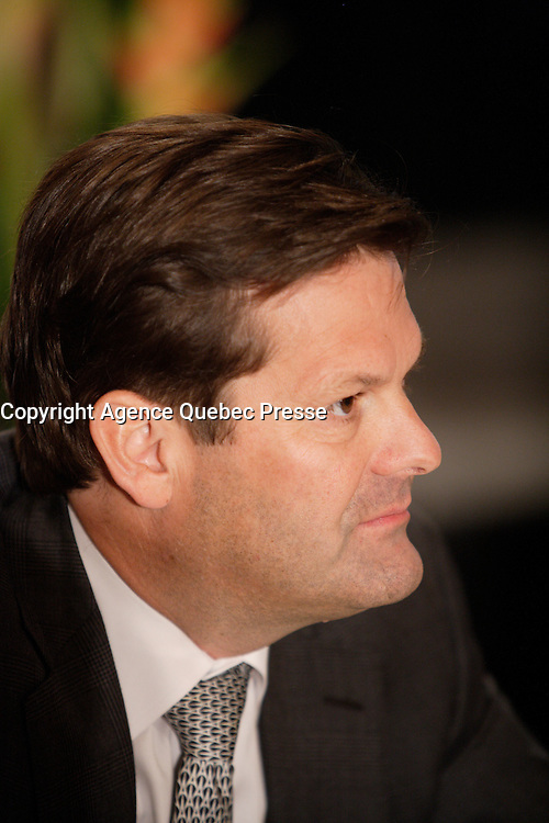 Montreal (QC) CANADA,Nov 9 2009-  PIERRE BEAUDOIN, PRESIDENT AND CHIEF EXECUTIVE OFFICER OF<br />                BOMBARDIER INC., AT THE CANADIAN CLUB OF MONTREAL'S PODIUM.<br /> After being President and Chief Operating Officer of Bombardier Recreational Products, President of Bombardier Business Aircraft and President and Chief Operating Officer of Bombardier Aerospace, Pierre Beaudoin became, in June 2008, President and Chief Executive Officer of Bombardier Inc.<br /> <br /> Star of the QuÈbec Inc., Bombardier has become one of the most worldwide respected multinational company.