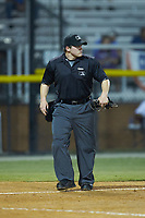 Umpire Chandler Durham works the plate during the game between the Johnson City Cardinals and the Burlington Royals at Burlington Athletic Stadium on September 3, 2019 in Burlington, North Carolina. The Cardinals defeated the Royals 7-2 to even Appalachian League Championship series at one game a piece. (Brian Westerholt/Four Seam Images)