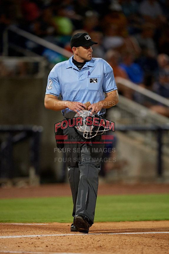 Umpire Brock Ballou during a Southern League game between the Mobile BayBears and Pensacola Blue Wahoos on July 25, 2019 at Blue Wahoos Stadium in Pensacola, Florida.  Pensacola defeated Mobile 3-2 in the second game of a doubleheader.  (Mike Janes/Four Seam Images)