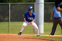 Indiana State Sycamores Dominic Cusumano (8) leads off during a game against the Chicago State Cougars on February 23, 2020 at North Charlotte Regional Park in Port Charlotte, Florida.  Chicago State defeated Indiana State 3-0.  (Mike Janes/Four Seam Images)