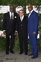 Richard Rountree, Tico Torres and Samuel L Jackson<br /> arrives for the One for the Boys charity fashion event at the V&A Museum, London.<br /> <br /> <br /> ©Ash Knotek  D3133  12/06/2016