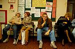 Doctors waiting room east end London 1989. Gill Street London E14.