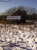 Snow covered barn<br />