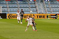 ST PAUL, MN - SEPTEMBER 06: Emanuel Reynoso #10 of Minnesota United FC and Tate Schmitt #21 of Real Salt Lake during a game between Real Salt Lake and Minnesota United FC at Allianz Field on September 06, 2020 in St Paul, Minnesota.