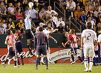 Chivas USA goalkeeper Lance Parker leaps high for a save. The LA Galaxy defeated Chivas USA 1-0 to win the final edition of the 2009 SuperClásico at Home Depot Center stadium in Carson, California on Saturday, August 29, 2009...