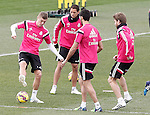 Real Madrid's Toni Kroos, James Rodriguez, Alvaro Arbeloa and Asier Illarramendi during training session.January 30,2015.(ALTERPHOTOS/Acero)