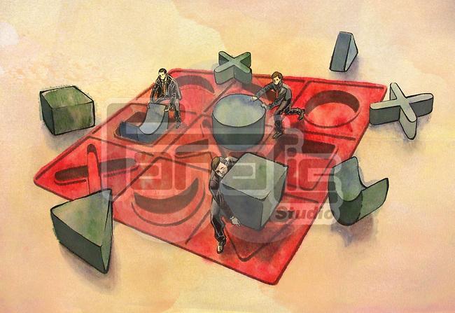 Businessmen misplacing blocks due to mismanagement