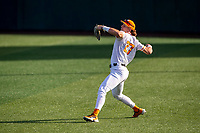 Tennessee Volunteers outfielder Jordan Beck (27) warms up prior to the game against the LSU Tigers on Robert M. Lindsay Field at Lindsey Nelson Stadium on March 26, 2021, in Knoxville, Tennessee. (Danny Parker/Four Seam Images)
