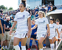CARY, NC - SEPTEMBER 12: Sophia Smith #9 and Lindsey Horan #10 of the Portland Thorns take the field before a game between Portland Thorns FC and North Carolina Courage at WakeMed Soccer Park on September 12, 2021 in Cary, North Carolina.