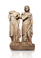 Roman statue of two women; Marble. Perge. 2nd century AD. Inv 3271. Antalya Archaeology Museum; Turkey. Against a white background.