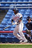 Richmond Flying Squirrels center fielder Darren Ford (15) at bat during a game against the Binghamton Mets on June 26, 2016 at NYSEG Stadium in Binghamton, New York.  Binghamton defeated Richmond 7-2.  (Mike Janes/Four Seam Images)