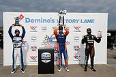 #30: Takuma Sato, Rahal Letterman Lanigan Racing Honda, #9: Scott Dixon, Chip Ganassi Racing Honda, #5: Pato O'Ward, Arrow McLaren SP Chevrolet, podium