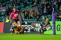 21st May 2021; Twickenham, London, England; European Rugby Challenge Cup Final, Leicester Tigers versus Montpellier; A disallowed try for Nemani Nadolo of Leicester Tigers