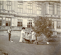 BNPS.co.uk (01202) 558833.<br /> Pic: Longleat/BNPS<br /> <br /> Pictured: These images were used as inspiration for the new sculptures. Two gardeners with 5th Marchioness, and ladies Kathleen and Emma at Longleat in 1902<br /> <br /> Life-size human sculptures have been unveiled at one of England's finest stately homes as part of an exhibition charting five centuries.<br /> <br /> The figures represent people from the late 19th century to the present day connected with Longleat House in Wiltshire.<br /> <br /> They include Jules Curtis, who was head gardener at the estate in the 1900s, clipping a topiary hedge.