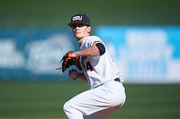 Oregon State Beavers relief pitcher Nathan Burns (24) delivers a pitch during an NCAA game against the New Mexico Lobos at Surprise Stadium on February 14, 2020 in Surprise, Arizona. (Zachary Lucy / Four Seam Images)