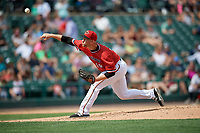Rochester Red Wings relief pitcher Alex Wimmers (19) during a game against the Columbus Clippers on August 9, 2017 at Frontier Field in Rochester, New York.  Rochester defeated Columbus 12-3.  (Mike Janes/Four Seam Images)