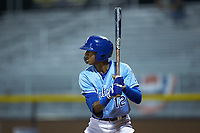 Burle Dixon (12) of the Burlington Royals at bat against the Johnson City Cardinals at Burlington Athletic Stadium on September 3, 2019 in Burlington, North Carolina. The Cardinals defeated the Royals 7-2 to even Appalachian League Championship series at one game a piece. (Brian Westerholt/Four Seam Images)