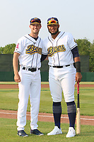 Burlington Bees Trevor Nyp (left) and Kevin Maitan (right) pose for a photo before a Midwest League game against the Quad Cities River Bandits on May 31, 2019 at Community Field in Burlington, Iowa.  Quad Cities defeated Burlington 13-10.  (Travis Berg/Four Seam Images)