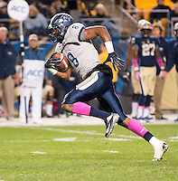Old Dominion wide receiver Blair Roberts (8) heads to the end zone on a 47-yard touchdown catch. The Pitt Panthers defeated the Old Dominion Monarchs 35-24 at Heinz Field, Pittsburgh, Pennsylvania on October 19, 2013.