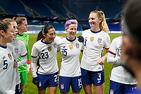 LE HAVRE, FRANCE - APRIL 13: Megan Rapinoe #15 of the United States psyching up her team mates during a game between France and USWNT at Stade Oceane on April 13, 2021 in Le Havre, France.
