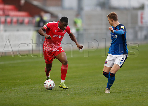 8th November 2020; SkyEx Community Stadium, London, England; Football Association Cup, Hayes and Yeading United versus Carlisle United; Francis Amartey of Hayes & Yeading United is marked by George Tanner of Carlisle United