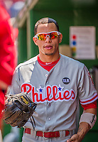 24 May 2015: Philadelphia Phillies infielder Cesar Hernandez stands in the dugout prior to a game against the Washington Nationals at Nationals Park in Washington, DC. The Nationals defeated the Phillies 4-1 to take the rubber game of their 3-game weekend series. Mandatory Credit: Ed Wolfstein Photo *** RAW (NEF) Image File Available ***