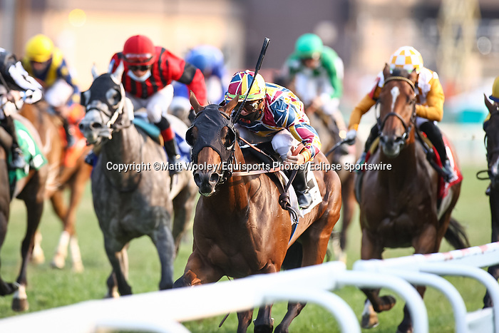 September 11, 2021: The Lir Jet (IRE) #2, ridden by jockey Tyler Gaffalione win the Grade 2 Franklin-Simpson Stakes on the turf at Kentucky Downs Racecourse in Franklin, K.Y. on September 11th, 2021. (Equisport Photos/For Editorial Use Only)