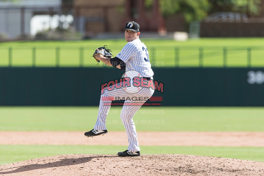 Glendale Desert Dogs relief pitcher Matt Wivinis (30), of the New York Yankees organization, delivers a pitch during an Arizona Fall League game against the Scottsdale Scorpions at Camelback Ranch on October 16, 2018 in Glendale, Arizona. Scottsdale defeated Glendale 6-1. (Zachary Lucy/Four Seam Images)