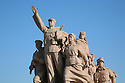 Statue outside Chairman Maos Mausoleum. Tiananmen Square. Beijing China.