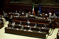 The Italian Premier Giuseppe Conte surrounded by Italian Ministers during  the information at the Lower Chamber about the Government crisis..<br /> Rome(Italy), January 18th 2021<br /> Photo Samantha Zucchi/Insidefoto