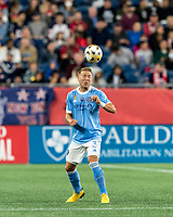 FOXBOROUGH, MA - SEPTEMBER 11: Anton Tinnerholm #3 of New York City FC heads the ball during a game between New York City FC and New England Revolution at Gillette Stadium on September 11, 2021 in Foxborough, Massachusetts.