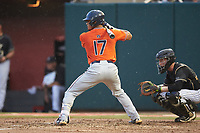 Will Holland (17) of the Auburn Tigers at bat against the Army Black Knights at Doak Field at Dail Park on June 2, 2018 in Raleigh, North Carolina. The Tigers defeated the Black Knights 12-1. (Brian Westerholt/Four Seam Images)