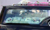 """COPY BY TOM BEDFORD<br /> Pictured: The funeral cortege leaves after the service, the Jerusalem Baptist Chapel in Merthyr Tydfil, Wales, UK. Friday 18 August 2017<br /> Re: The funeral of a toddler who died after a parked Range Rover's brakes failed and it hit a garden wall which fell on top of her will be held today at Jerusalem Baptist Chapel in Merthyr Tydfil.<br /> One year old Pearl Melody Black and her eight-month-old brother were taken to hospital after the incident in south Wales.<br /> Pearl's family, father Paul who is The Voice contestant and mum Gemma have said she was """"as bright as the stars""""."""
