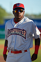 Clearwater Threshers Cornelius Randolph (2) during introductions before a game against the Dunedin Blue Jays on April 8, 2017 at Florida Auto Exchange Stadium in Dunedin, Florida.  Dunedin defeated Clearwater 12-6.  (Mike Janes/Four Seam Images)