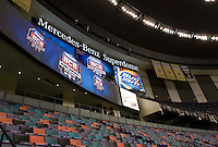 A wide angle shot of BCS Banners during BCS Media Day at Mercedes-Benz Superdome in New Orleans, Louisiana on January 6th, 2012.