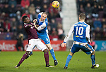 Hearts v St Johnstone…03.02.18…  Tynecastle…  SPFL<br />Steven Anderson and Demetri Mitchell<br />Picture by Graeme Hart. <br />Copyright Perthshire Picture Agency<br />Tel: 01738 623350  Mobile: 07990 594431
