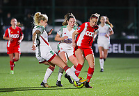 Tine Schrijvers (23 OHL), Estee Cattoor (11 OHL) and Charlotte Cranshoff (18 Standard) battle for the ball during a female soccer game between Oud Heverlee Leuven and Standard Femina De Liege on the 10th matchday of the 2020 - 2021 season of Belgian Womens Super League , sunday 20 th of December 2020  in Heverlee , Belgium . PHOTO SPORTPIX.BE   SPP   SEVIL OKTEM