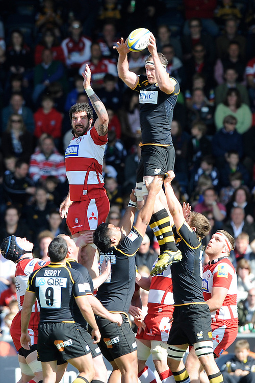 Richard Birkett of London Wasps beats Jim Hamilton of Gloucester Rugby in the lineout during the Aviva Premiership match between London Wasps and Gloucester Rugby at Adams Park on Sunday 1st April 2012 (Photo by Rob Munro)
