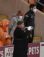 The bugler plays the last post<br /> <br /> Photographer Dave Howarth/CameraSport<br /> <br /> EFL Trophy - Northern Section - Group G - Blackpool v Leeds United U21 - Wednesday 11th November 2020 - Bloomfield Road - Blackpool<br />  <br /> World Copyright © 2020 CameraSport. All rights reserved. 43 Linden Ave. Countesthorpe. Leicester. England. LE8 5PG - Tel: +44 (0) 116 277 4147 - admin@camerasport.com - www.camerasport.com