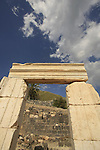 Israel, Beth Shean valley. Ruins of the Roman-Byzantine city Scythopolis, Tel Beth Shean is in the background.